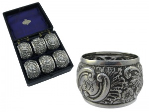 Set of 6   Silver Napkin Rings 1902