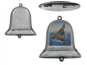 Bell Shaped Silver and Enamel Vesta Case 1910