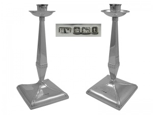 Pair English Sterling Silver Candlesticks 1911