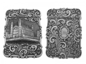 Victorian Silver Castle Top Card Case Kings' College 1847