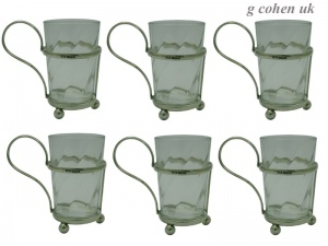 Set of 6 Silver Tea Glass Holders 1930