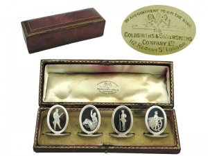Set of 4 Militiary Menu Holders London 1914
