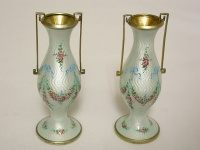 Pair of European Silver Enamel Vases C1920