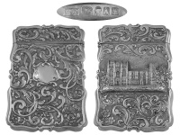 Victorian Silver Castle Top Card Case 1849