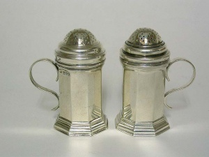 Pair Sterling Silver Kitchen Pepper Pots London 1912