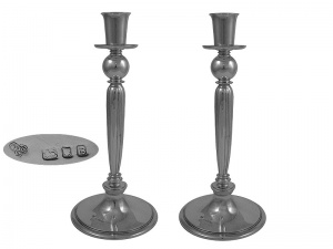 Pair English Sterling Silver Candlesticks 1940