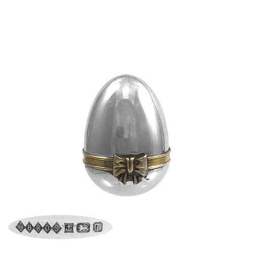 Sterling Silver Egg Shaped Pill Box 1993