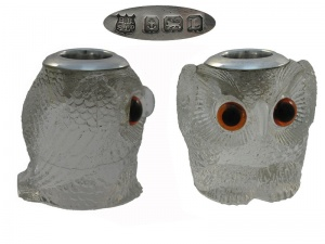 Silver Glass Owl Match Holder 1935