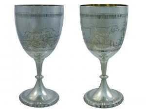 Pair of  Victorian Silver Goblets 1874