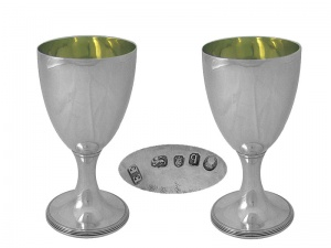 Pair Georgian Silver Goblets London 1791