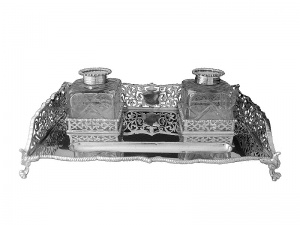 English Sterling Silver Ink Stand 1923
