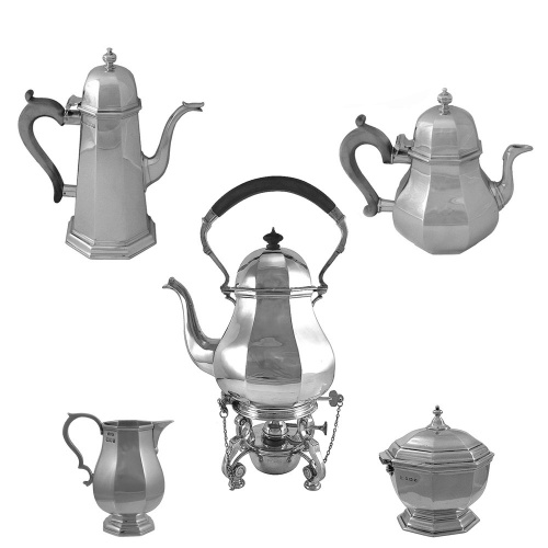 5 Piece  Silver Tea Set 1960