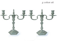 Pair of Cast Sterling Silver Candelabra 1962