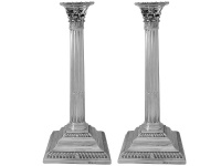 Pair of Georgian Silver Candlesticks  London 1764