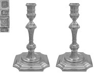 Pair of English Cast Silver Candlesticks 1975
