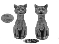 Pair of Silver Cat Salt & Pepper Pots 1924