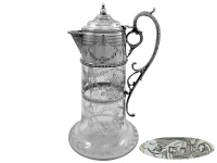 Victorian Silver and Glass Claret Jug 1872