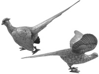 Pair Sterling Silver Pheasants 1972
