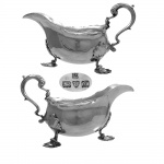 Pair Victorian  Silver Sauceboats Chester 1895