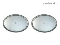 Pair Oval Georgian Silver Salvers London 1783/6