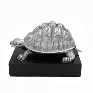 Victorian Silver Tortoise Ink Well 1865