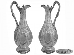 Pair of Victorian Silver  Claret Jugs   1866